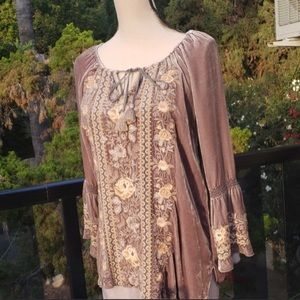 Nwt Johnny Was embroidered Velvet blouse S